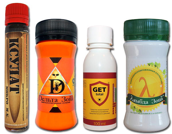 Примеры современных препаратов от клопов - Ксулат Микро, Get, Дельта Зона, Лямбда Зона.