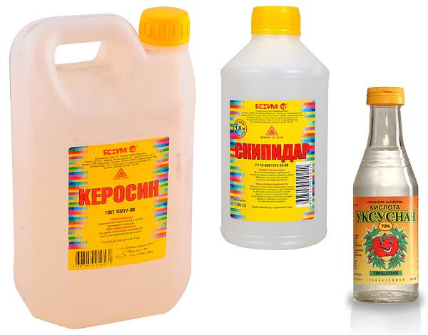 Примеры народных средств от клопов - керосин, скипидар, уксусная кислота.