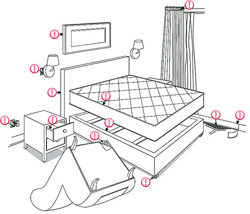 На рисунке изображены места, где в первую очередь следует искать клопов в квартире