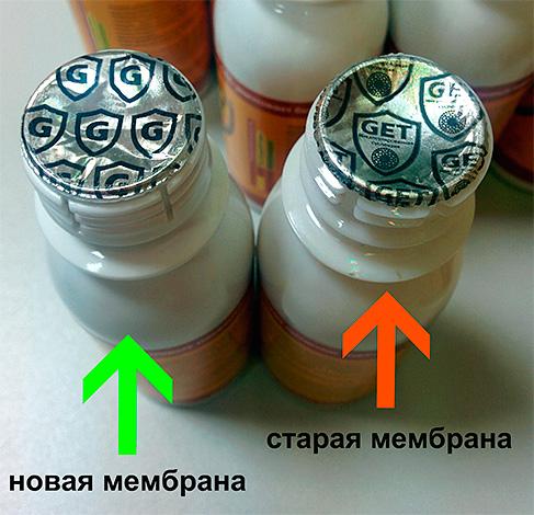 Оригинальное средство имеет фольгированную мембрану с логотипом Get