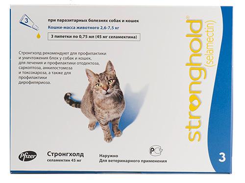 Капли от блох на холку для кошек Stronghold