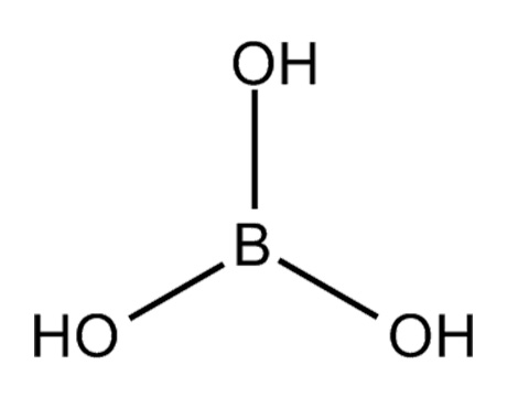 Борная кислота: химическая формула (H3BO3)