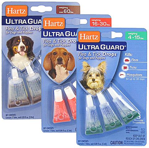 Капли Hartz от блох могут быть предназначены для разных категорий собак и щенков