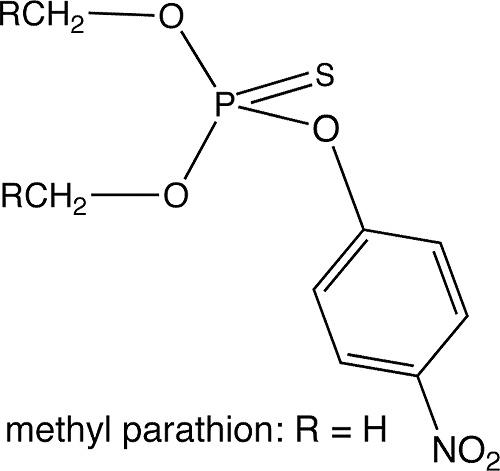 Формула метильного аналога тиофоса - метафоса (иначе метил-паратиона)