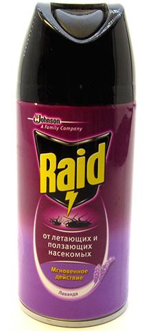 Универсальное средство от насекомых Raid также будет эффективно бороться с молью в шкафу