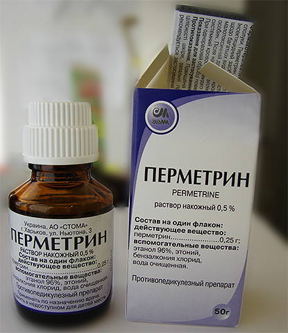 Перметрин входит в состав многих средств от вшей, а также выпускается в виде раствора