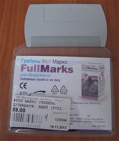 Гребень FullMarks для вычесывания вшей и гнид можно также приобрести отдельно