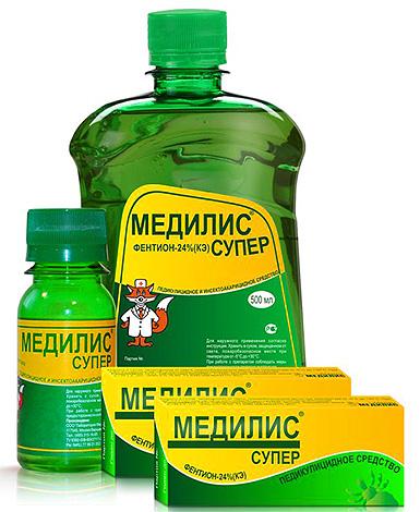 В состав средства от вшей Медилис Супер входит инсектицид фентион