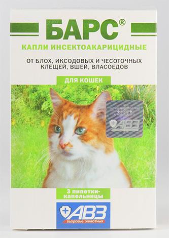 Капли от блох Барс также подойдут для лечения кошки от вшей