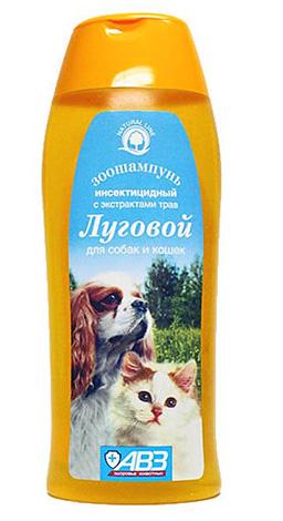 Шампунь Луговой хорошо подходит для обработки от блох животных с нежной кожей и красивой шерстью.
