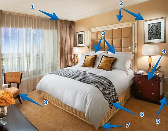 На картинке показаны места возможного нахождения гнезд клопов в квартире, которые нужно обработать в первую очередь.