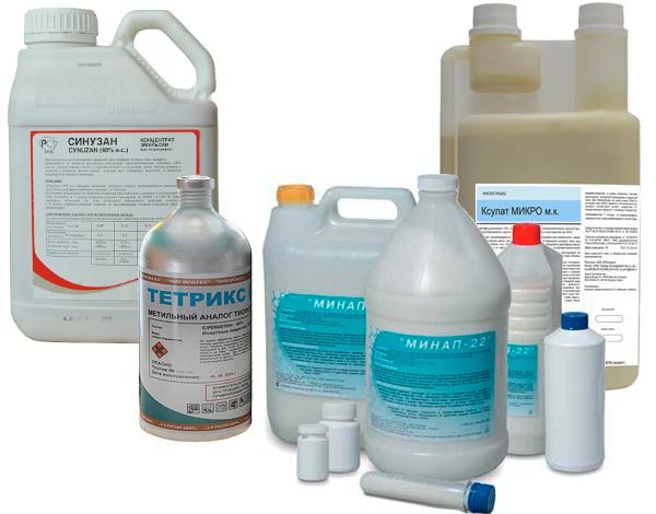 Примеры инсектицидных препаратов, иногда используемых профессионалами при обработке помещений от насекомых.