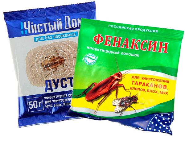 Примеры порошкообразных инсектицидных средств.