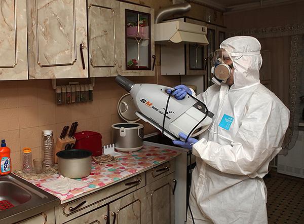На фото показан пример обработки кухни от тараканов с помощью генератора холодного тумана.