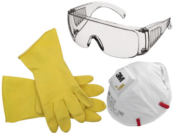При обработке помещения от клопов инсектицидными препаратами важно использовать резиновые перчатки, респиратор и (по возможности) защитные очки.