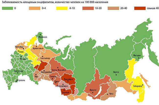 На карте показана заболеваемость клещевым энцефалитом в разных регионах России.