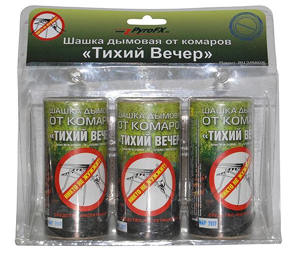 Инсектицидная дымовая шашка Тихий Вечер (обычно применяется против комаров, но достаточно эффективна и против клопов, тараканов и других насекомых в квартире).