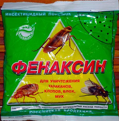 Порошкообразное инсектицидное средство от тараканов, клопов, мух и блох Фенаксин