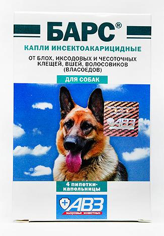 Инсектоакарицидные капли для собак Барс