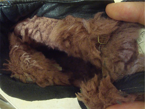 Мех на рукавах этой куртки сильно поела моль