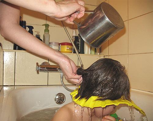 Обязательно промыть волосы чистой водой несколько раз, избегая попадания промывочной воды в глаза