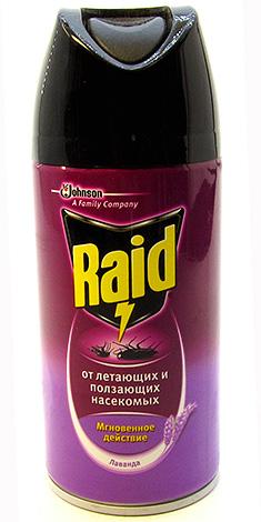 Средство от насекомых Raid широко используется в быту и против клопов