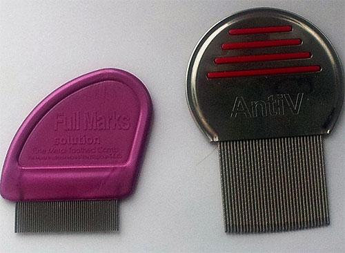 На фото представлены примеры специальных гребней для вычесыания вшей и гнид