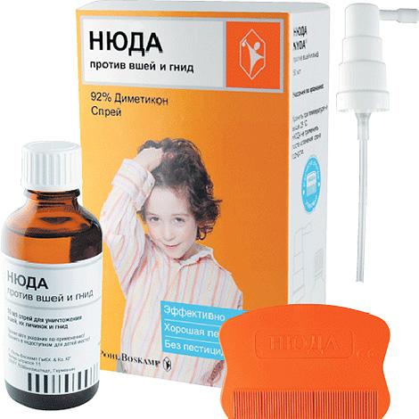 Средство Нюда не содержит инсектицидов, а действующим веществом в нем является жидкий силикон - диметикон.