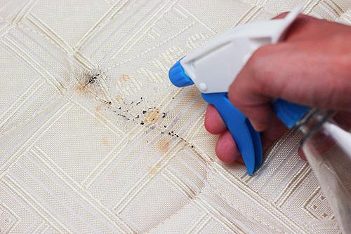 Пример распыления спрея от клопов на матрас кровати