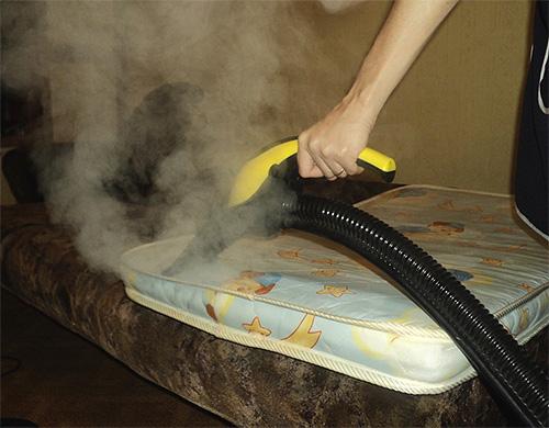 При температуре пара около 100 градусов клопы погибнут даже в глубоких складках и повреждениях матраса.