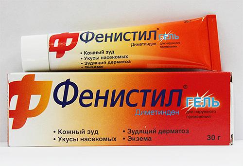 Гель Фенистил помогает уменьшить зуд и снизить вероятность развития аллергической реакции.