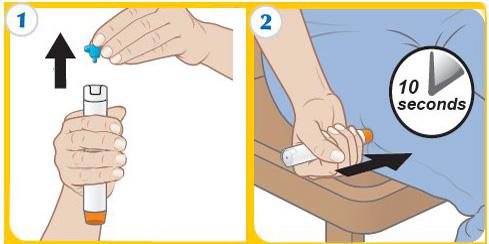 На картинке показана схема применения автоинъектора в критических ситуациях (введение средства прямо через одежду).
