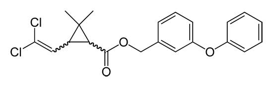Структурная формула перметрина (эффективный инсектицид, действующее вещество дымовых шашек Самуро).