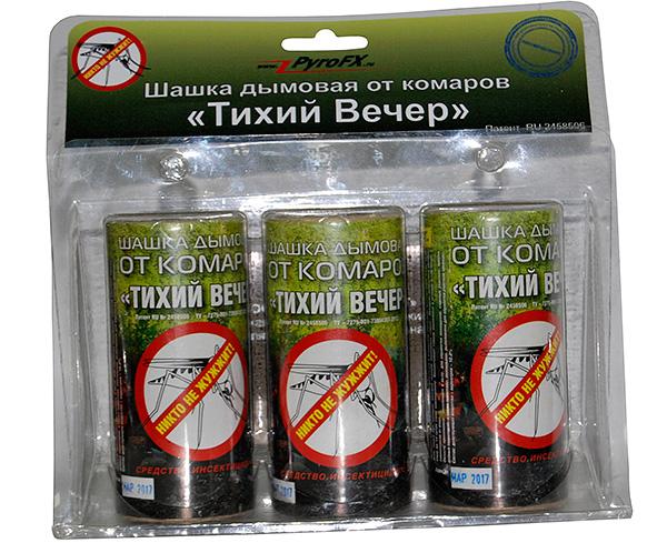 Вообще говоря, шашки Тихий Вечер позиционируются как средство от комаров, что, впрочем, не мешает им быть весьма эффективными и от других насекомых.