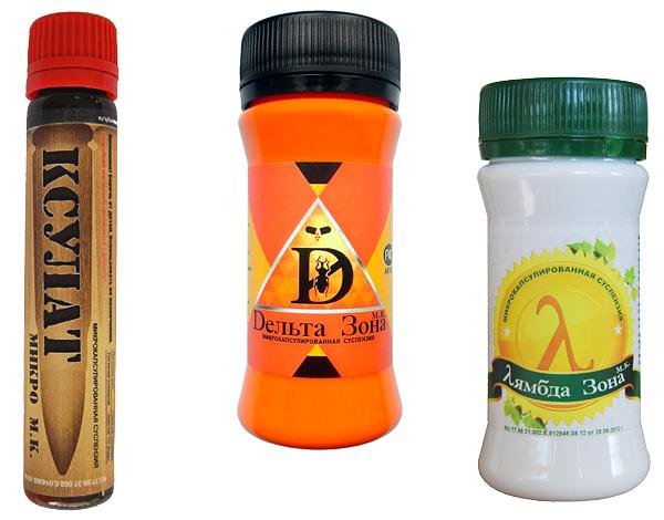 Примеры микрокапсулированных средств от насекомых: Ксулат Микро, Дельта Зона и Лямбда Зона.