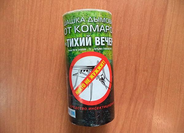Инсектицидная дымовая шашка от комаров Тихий Вечер (на основе перметрина).