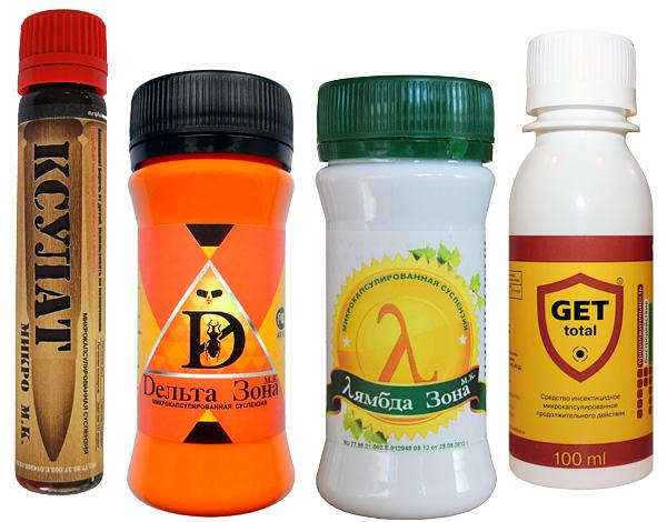 Примеры инсектицидных средств, адаптированных для бытового применения.