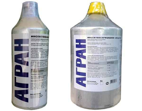 Агран в бутылках объемом 1 и 5 литра (для профессиональных дезинсекторов).