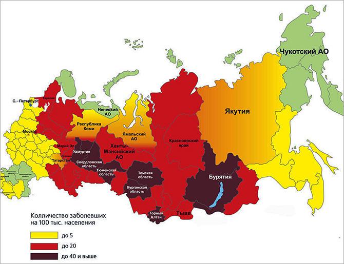Карта распространения клещевого энцефалита в РФ.