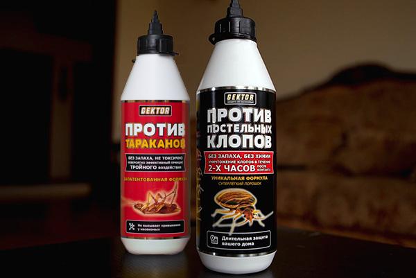 Инсектицидные препараты Гектор для уничтожения клопов и других ползающих насекомых...
