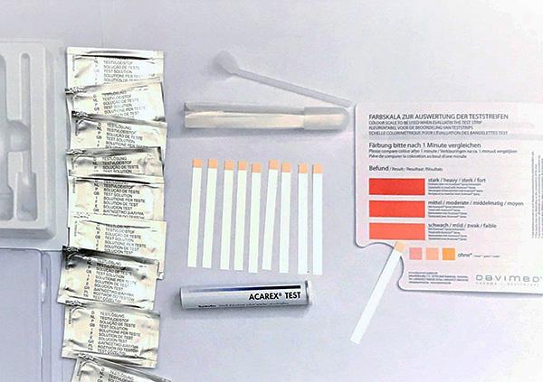 Тест-система Acarex позволяет определять концентрацию клещевых аллергенов в пыли.