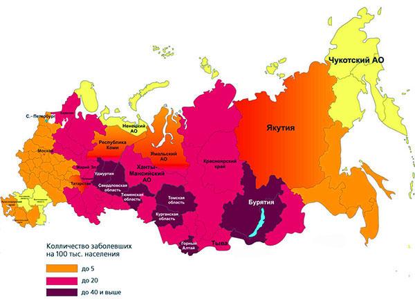 Карта распространения клещевого энцефалита в России